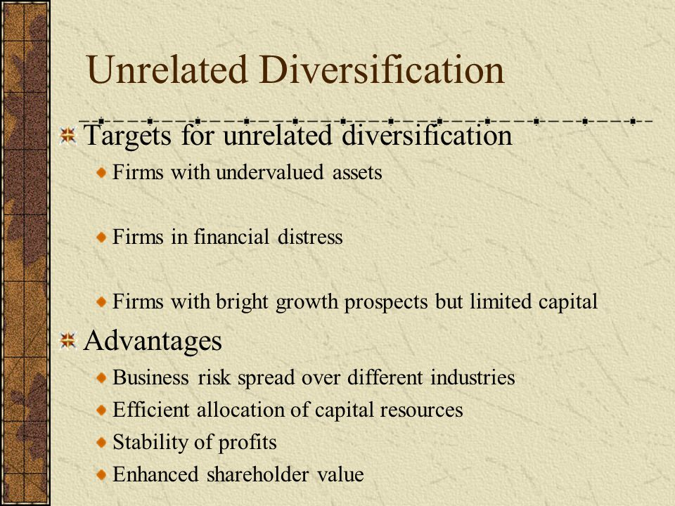 Unrelated Diversification Targets for unrelated diversification Firms with undervalued assets Firms in financial distress Firms with bright growth pro