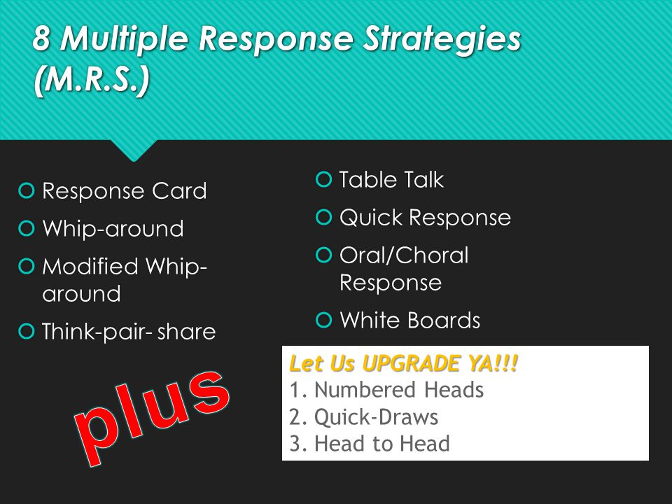 8 Multiple Response Strategies (M.R.S.)  Response Card  Whip-around  Modified Whip- around  Think-pair- share  Response Card  Whip-around  Modi