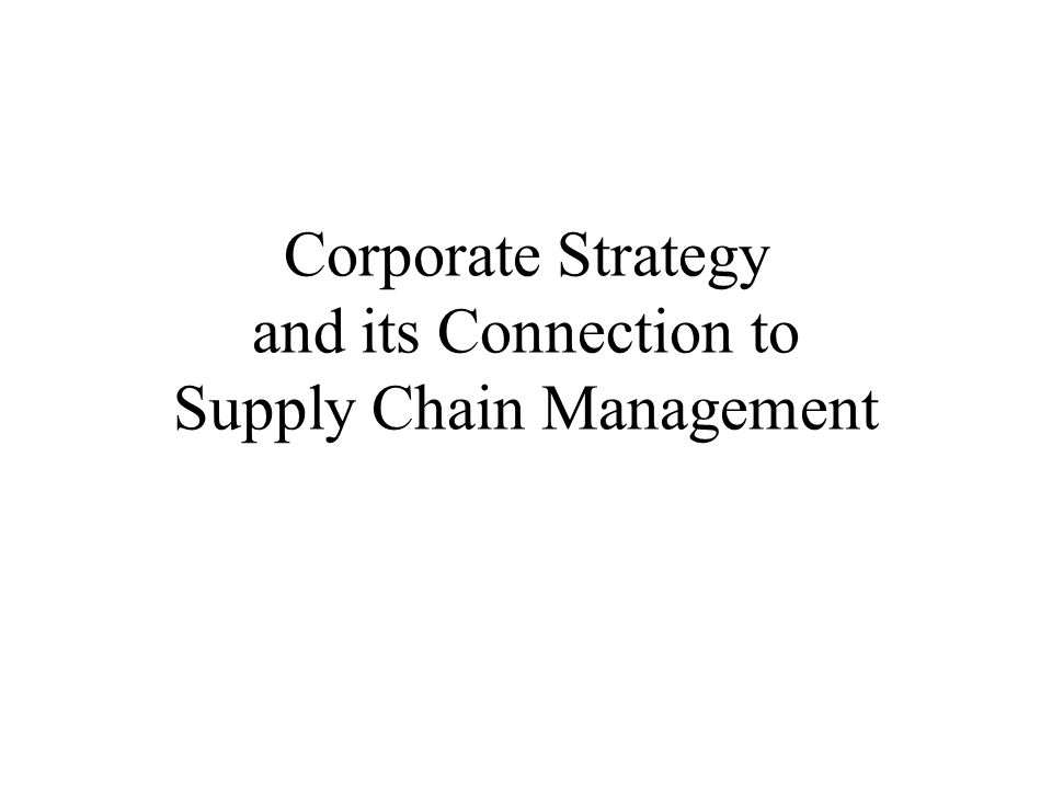 Fit Between Corporate and Functional Strategies (Chopra & Meindl) Corporate Competitive Strategy Supply Chain or Operations Strategy Product Development Strategy Marketing and Sales Strategy Information Technology Strategy Finance Strategy Human Resources Strategy