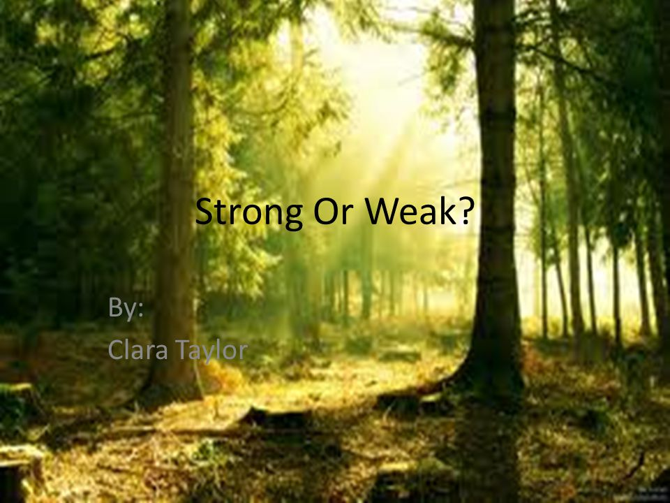 Strong Or Weak? By: Clara Taylor