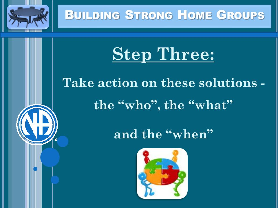 B UILDING S TRONG H OME G ROUPS Step Three: Take action on these solutions - the who , the what and the when
