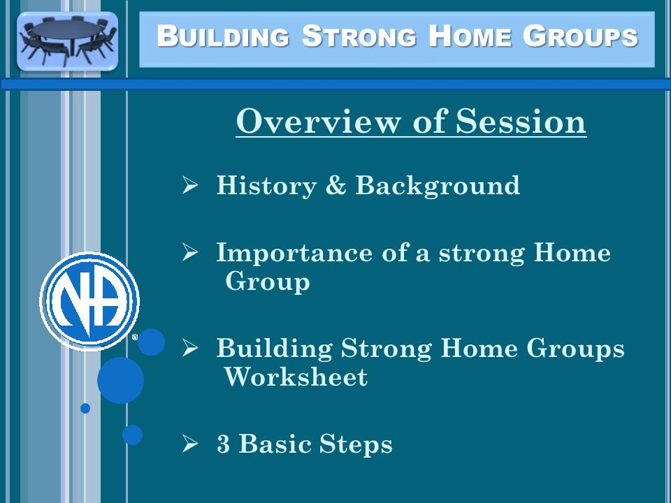 B UILDING S TRONG H OME G ROUPS Overview of Session  History & Background  Importance of a strong Home Group  Building Strong Home Groups Worksheet  3 Basic Steps