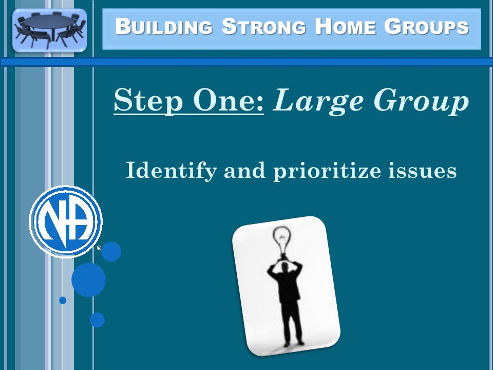 B UILDING S TRONG H OME G ROUPS Step One: Large Group Identify and prioritize issues