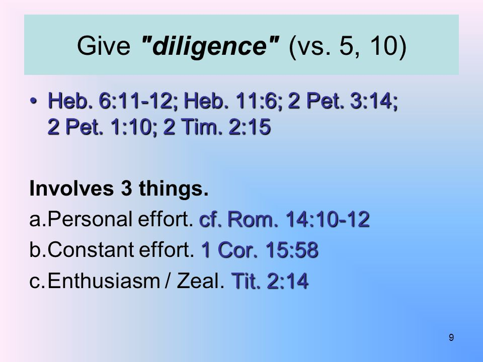 Heb.6:11-12; Heb. 11:6; 2 Pet. 3:14; 2 Pet. 1:10; 2 Tim.