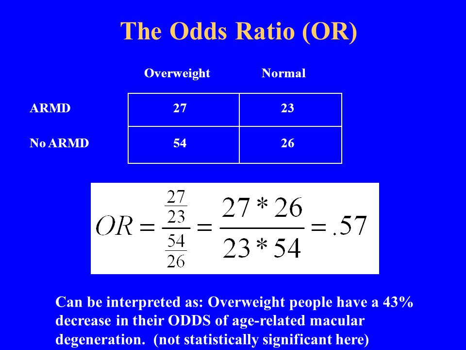 OverweightNormal ARMD 27 23 No ARMD 54 26 The Odds Ratio (OR)