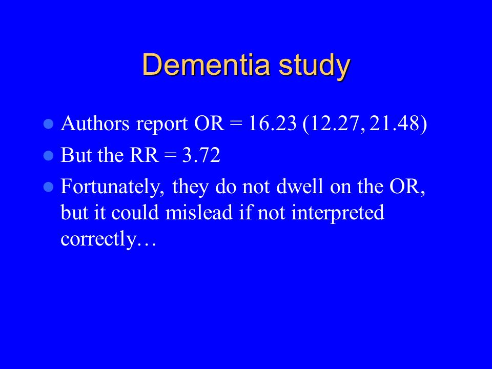 Example: Does dementia predict death.