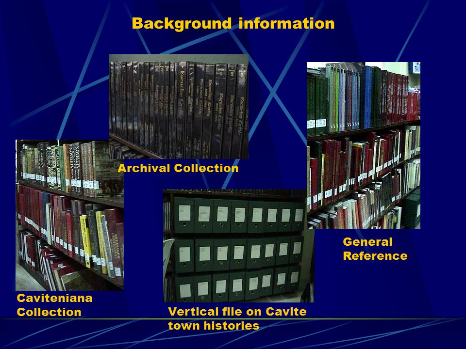 Background information Caviteniana Collection Archival Collection General Reference Vertical file on Cavite town histories