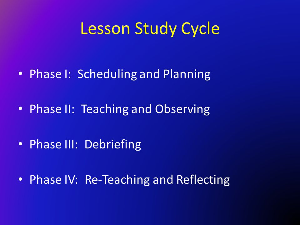 Lesson Study Cycle Phase I: Scheduling and Planning Phase II: Teaching and Observing Phase III: Debriefing Phase IV: Re-Teaching and Reflecting