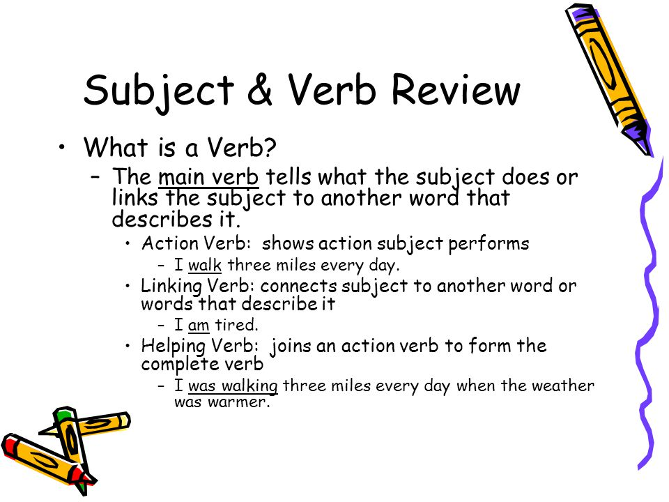 Subject & Verb Review What is a Verb? –The main verb tells what the subject does or links the subject to another word that describes it. Action Verb: