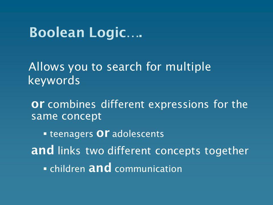 Boolean Logic….