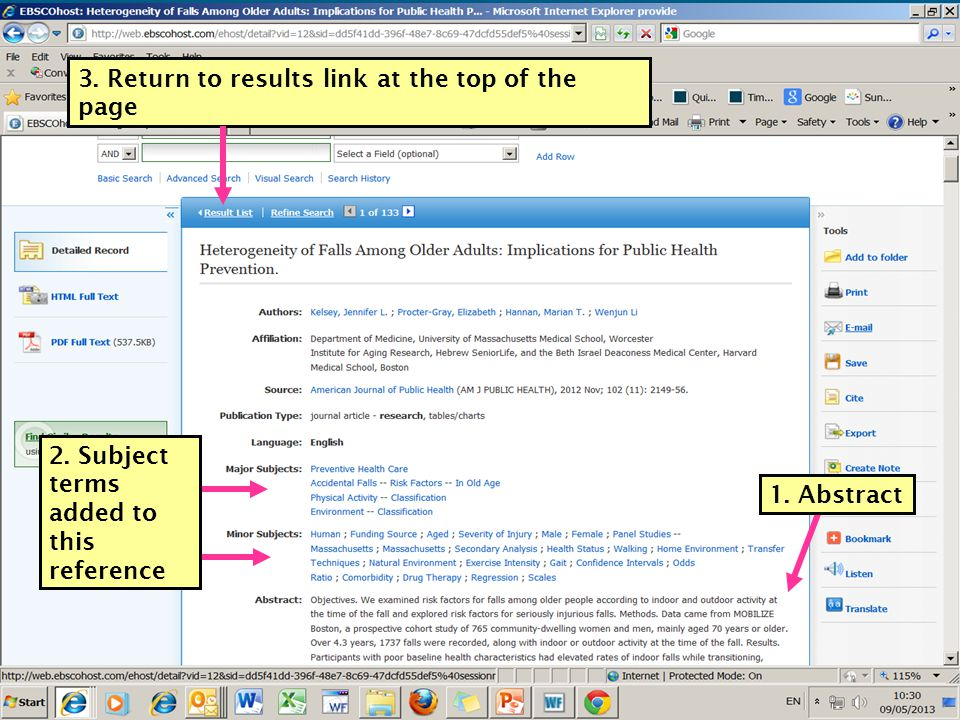 3. Return to results link at the top of the page 2.