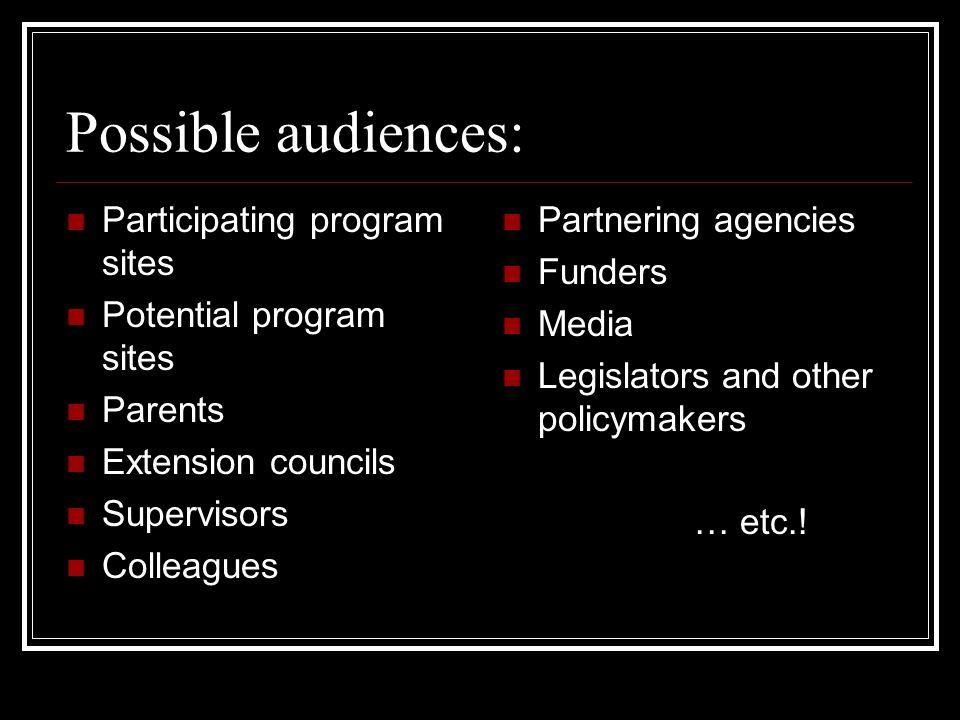 Possible audiences: Participating program sites Potential program sites Parents Extension councils Supervisors Colleagues Partnering agencies Funders Media Legislators and other policymakers … etc.!
