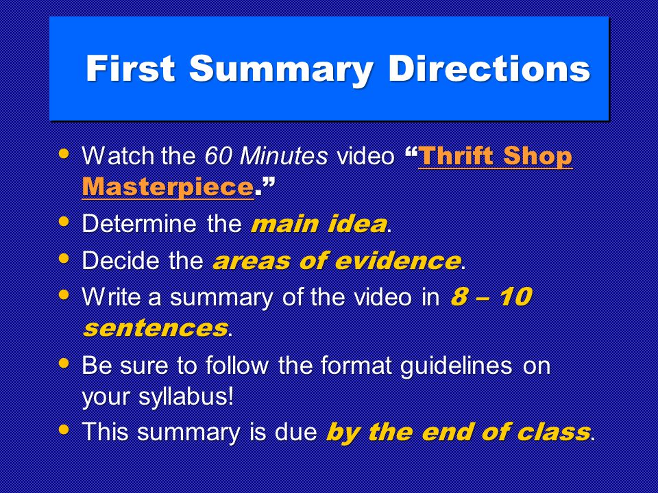 "First Summary Directions Watch the 60 Minutes video ""Thrift Shop Masterpiece."" Watch the 60 Minutes video ""Thrift Shop Masterpiece.""Thrift Shop Master"