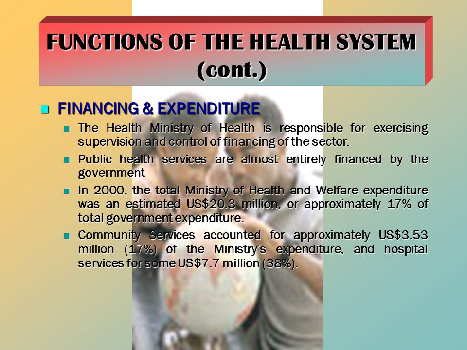 FINANCING & EXPENDITURE FINANCING & EXPENDITURE The Health Ministry of Health is responsible for exercising supervision and control of financing of the sector.