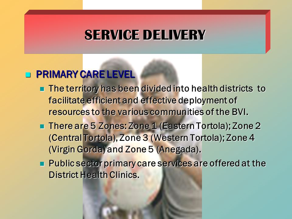PRIMARY CARE LEVEL PRIMARY CARE LEVEL The territory has been divided into health districts to facilitate efficient and effective deployment of resources to the various communities of the BVI.