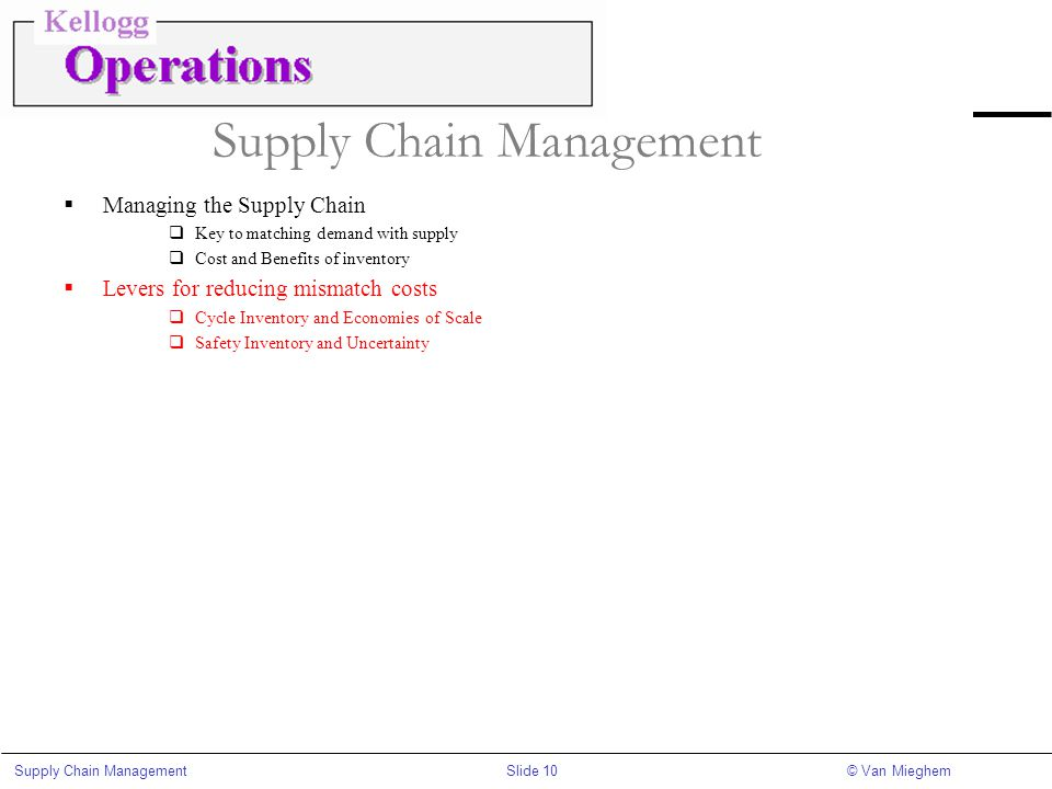 Slide 10Supply Chain Management© Van Mieghem Supply Chain Management  Managing the Supply Chain  Key to matching demand with supply  Cost and Benef