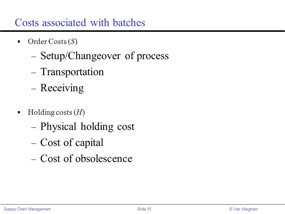 Slide 15Supply Chain Management© Van Mieghem Costs associated with batches  Order Costs (S) – Setup/Changeover of process – Transportation – Receivin