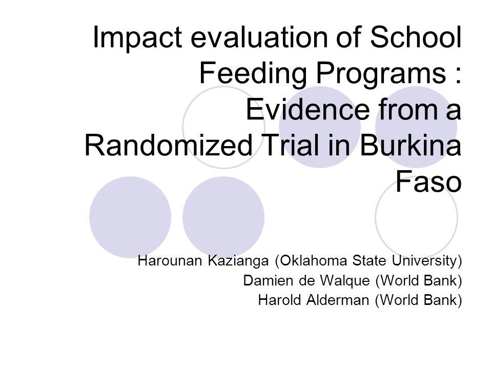 Impact evaluation summary Evaluation of two school feeding schemes in the Sahel region of rural Burkina Faso.