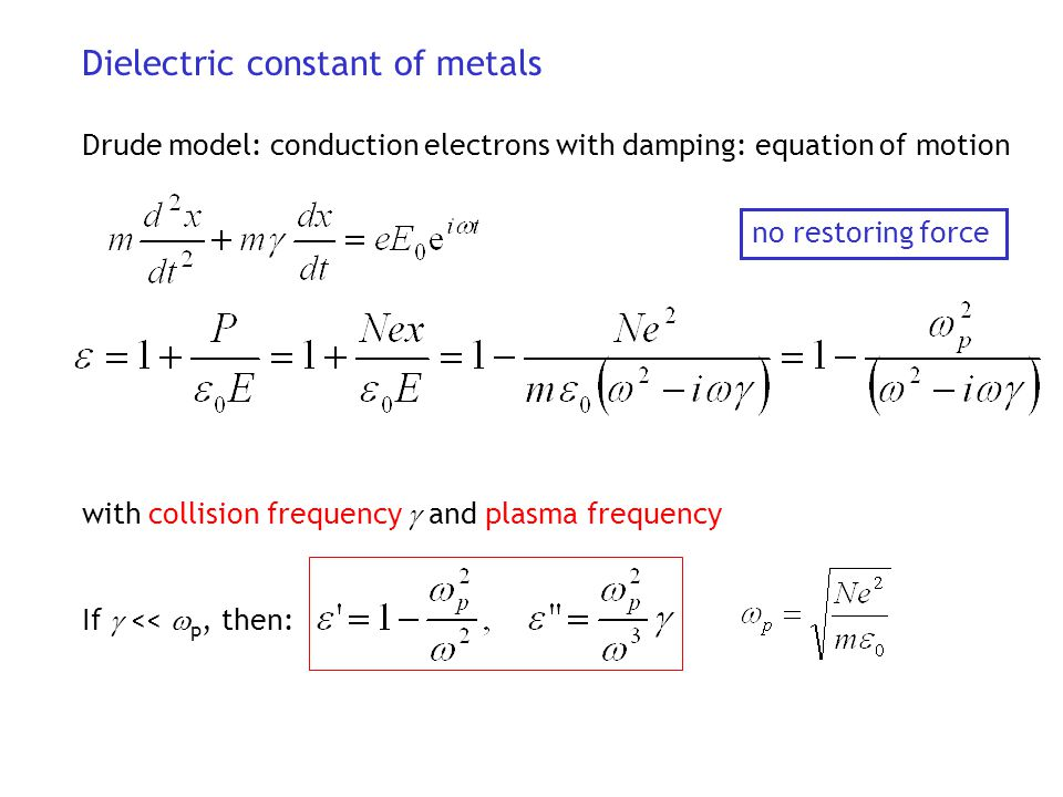 Dielectric constant of metals Drude model: conduction electrons with damping: equation of motion with collision frequency  and plasma frequency If 