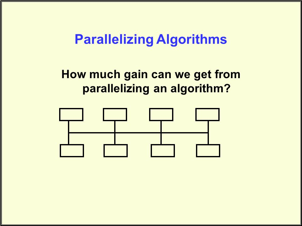 Parallelizing Algorithms How much gain can we get from parallelizing an algorithm