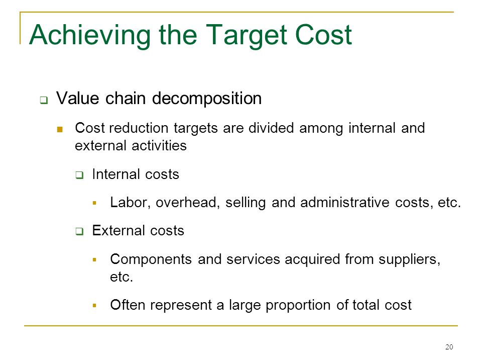20 Achieving the Target Cost  Value chain decomposition Cost reduction targets are divided among internal and external activities  Internal costs 
