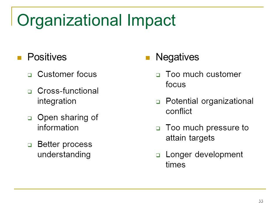33 Organizational Impact Positives  Customer focus  Cross-functional integration  Open sharing of information  Better process understanding Negati