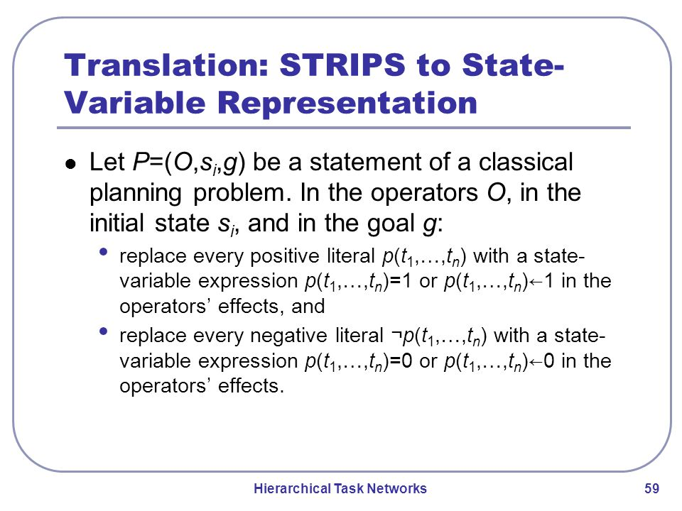 Hierarchical Task Networks 59 Translation: STRIPS to State- Variable Representation Let P=(O,s i,g) be a statement of a classical planning problem.