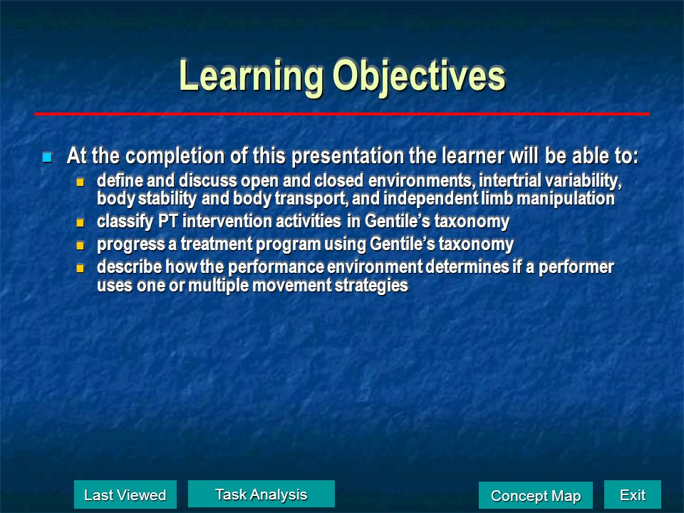 Learning Objectives At the completion of this presentation the learner will be able to: At the completion of this presentation the learner will be abl