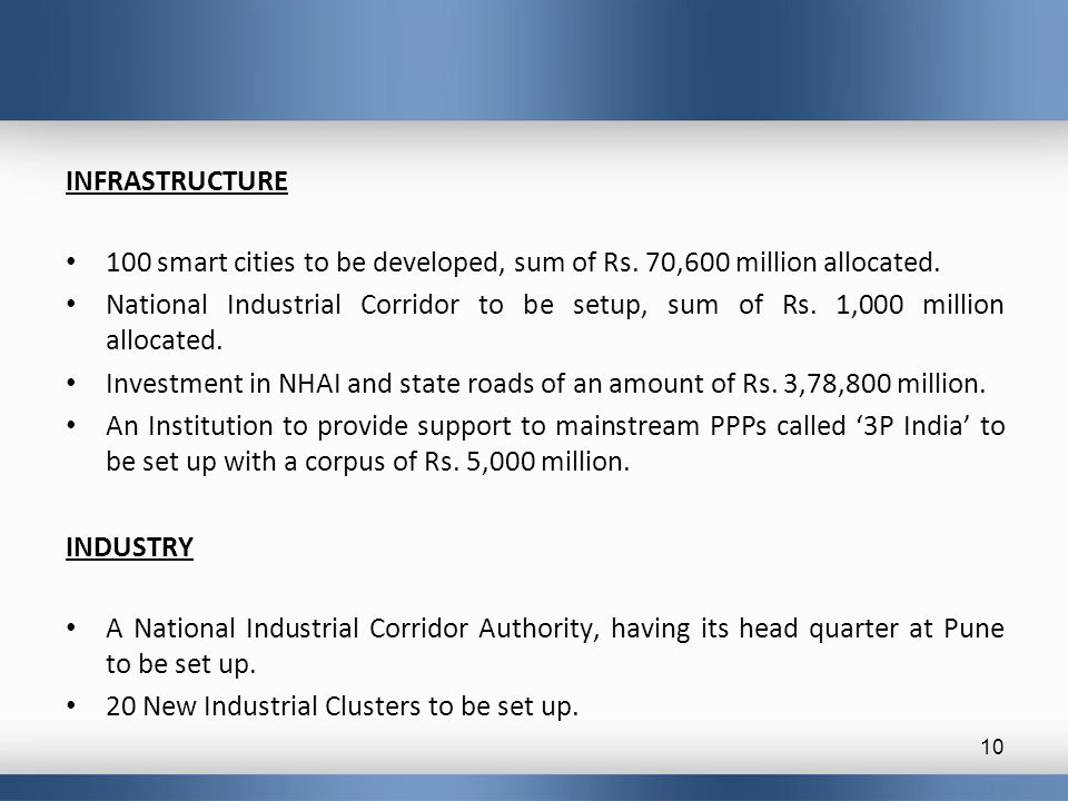 INFRASTRUCTURE 100 smart cities to be developed, sum of Rs.