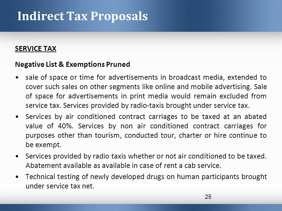 SERVICE TAX Negative List & Exemptions Pruned sale of space or time for advertisements in broadcast media, extended to cover such sales on other segments like online and mobile advertising.