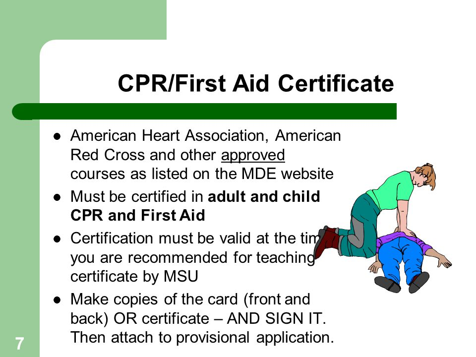 7 CPR/First Aid Certificate American Heart Association, American Red Cross and other approved courses as listed on the MDE website Must be certified i