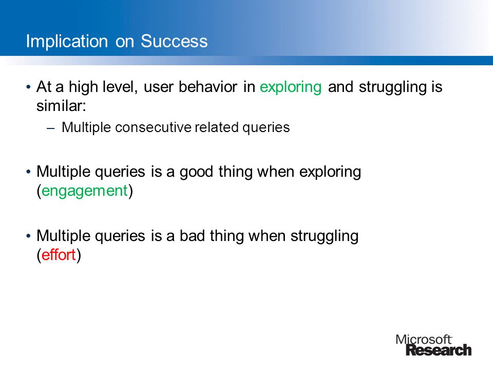 Implication on Success At a high level, user behavior in exploring and struggling is similar: –Multiple consecutive related queries Multiple queries i
