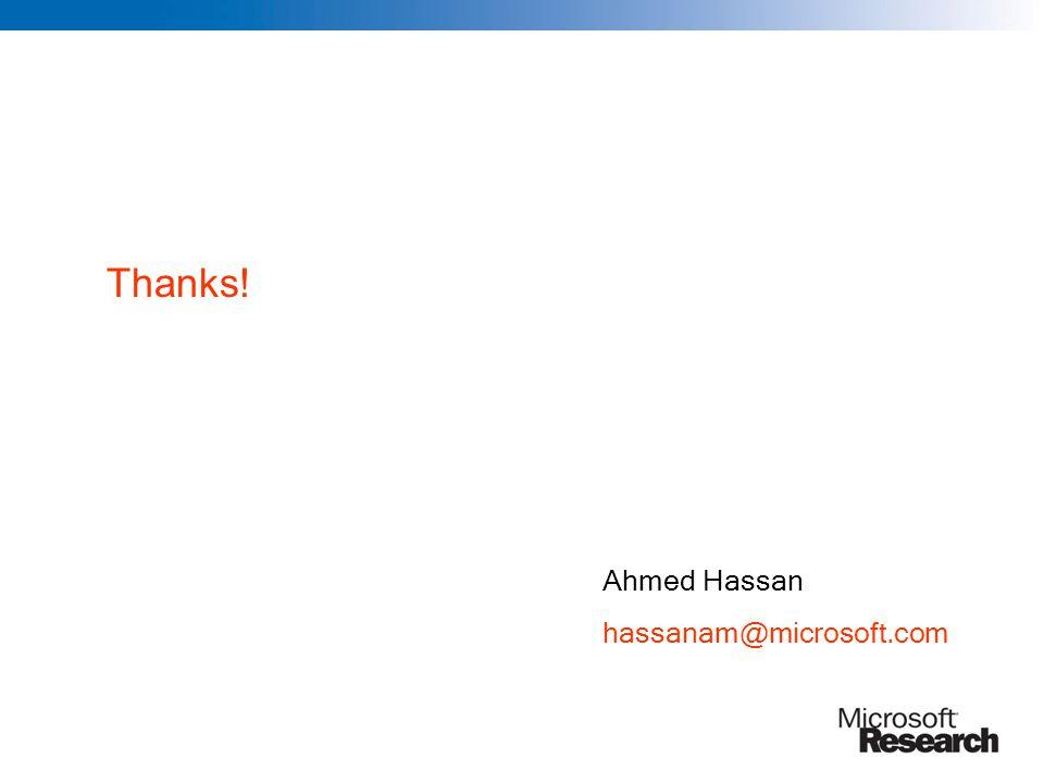 Thanks! Ahmed Hassan hassanam@microsoft.com
