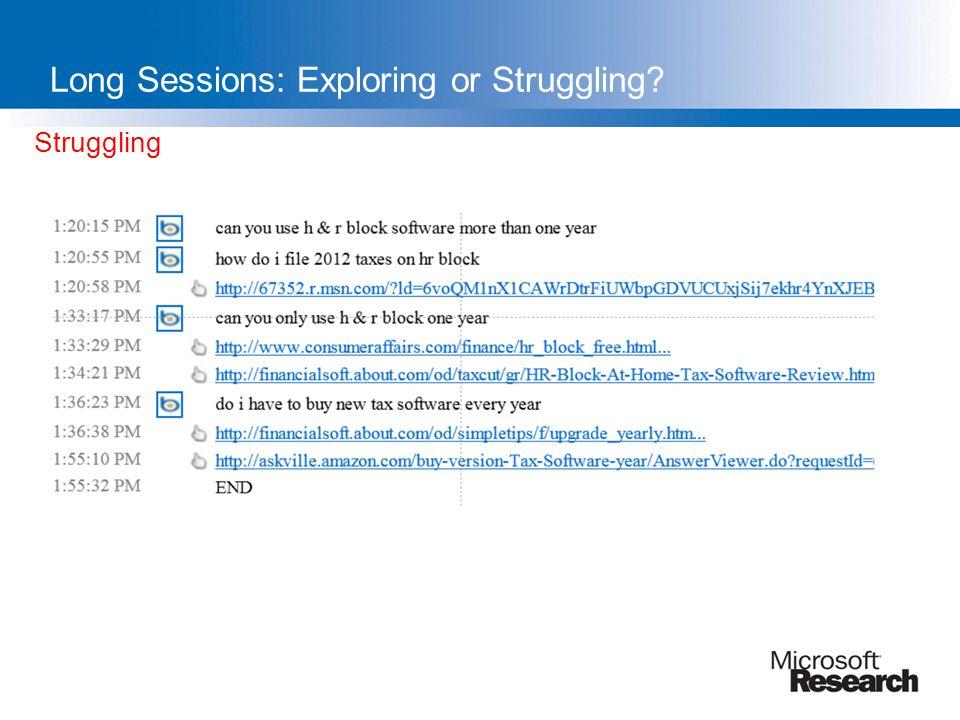 Struggling Long Sessions: Exploring or Struggling?