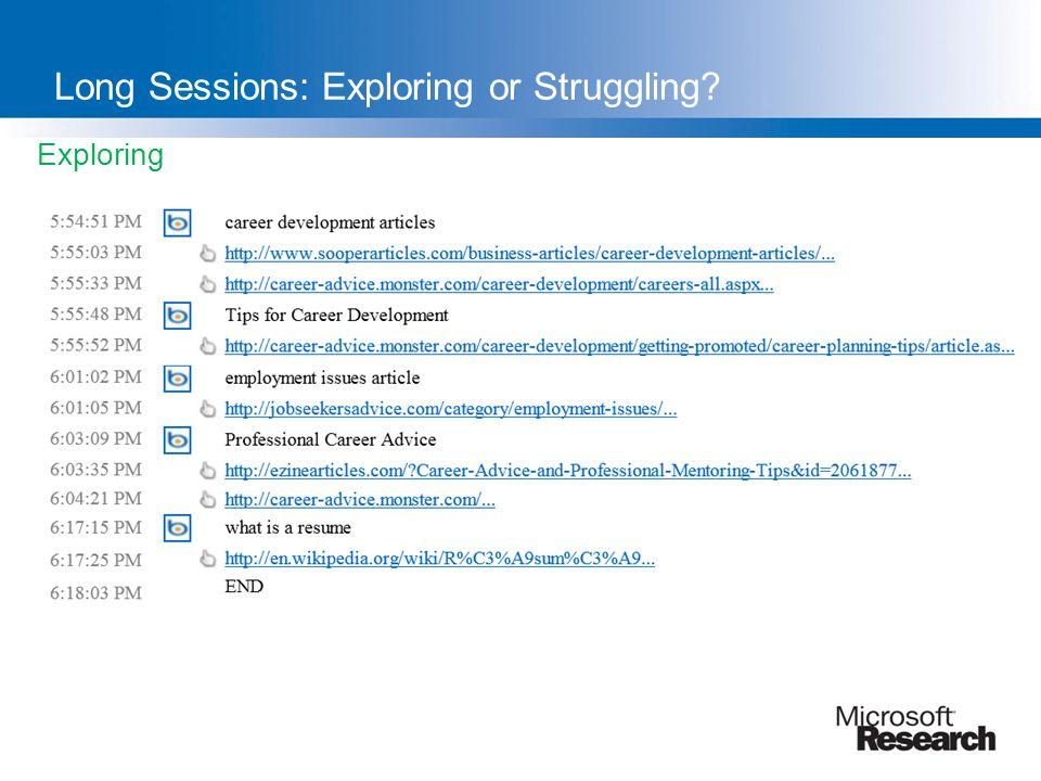 Exploring Long Sessions: Exploring or Struggling?