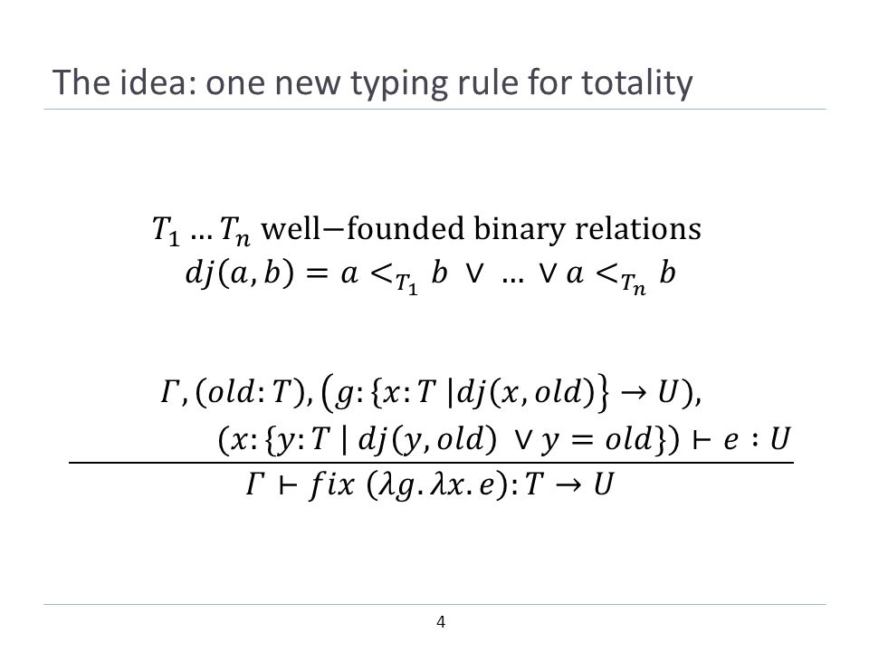 4 The idea: one new typing rule for totality
