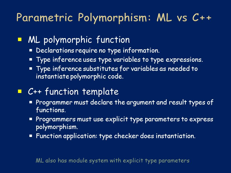  ML polymorphic function  Declarations require no type information.