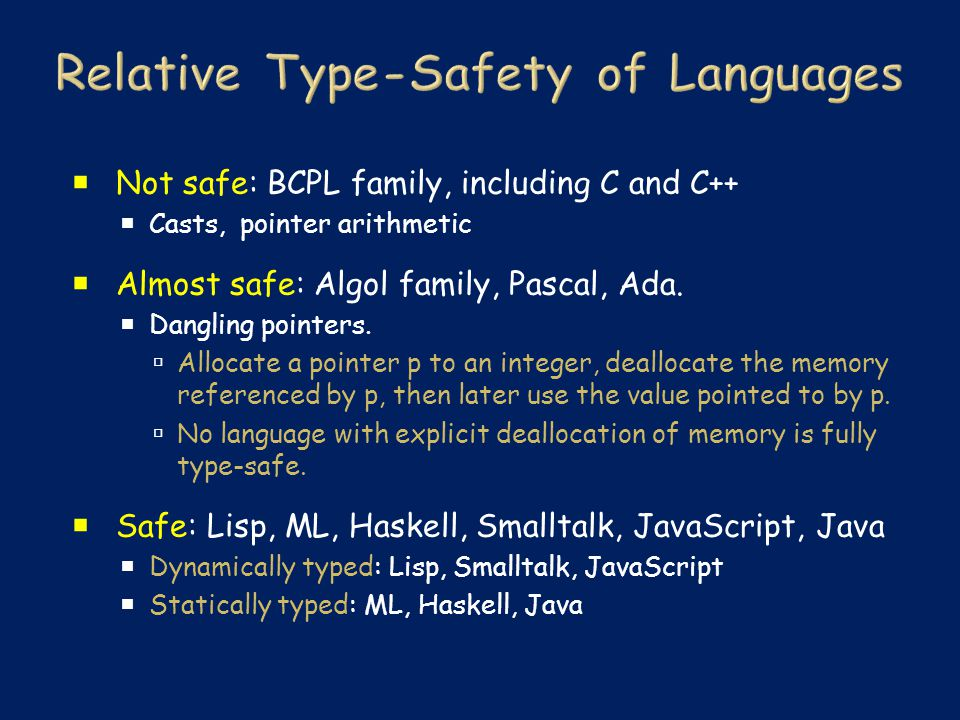  Not safe: BCPL family, including C and C++  Casts, pointer arithmetic  Almost safe: Algol family, Pascal, Ada.