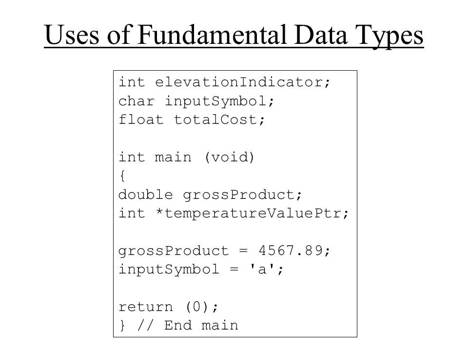 Uses of Fundamental Data Types int elevationIndicator; char inputSymbol; float totalCost; int main (void) { double grossProduct; int *temperatureValuePtr; grossProduct = ; inputSymbol = a ; return (0); } // End main