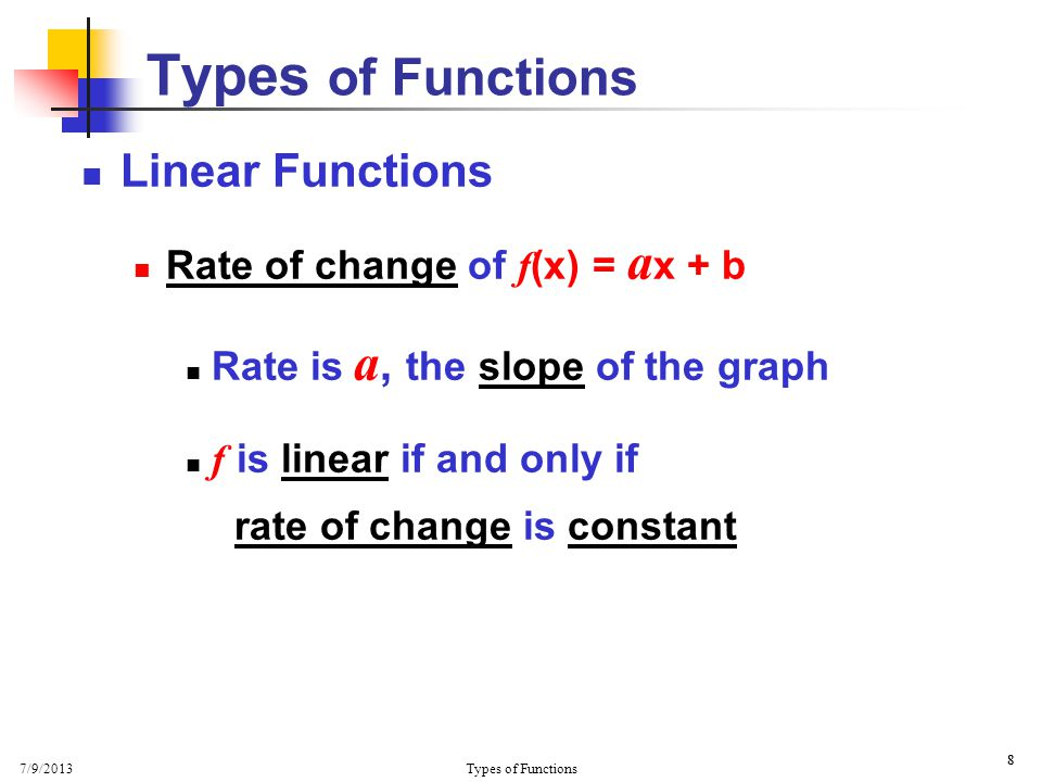 7/9/2013 Types of Functions 29 Think about it !
