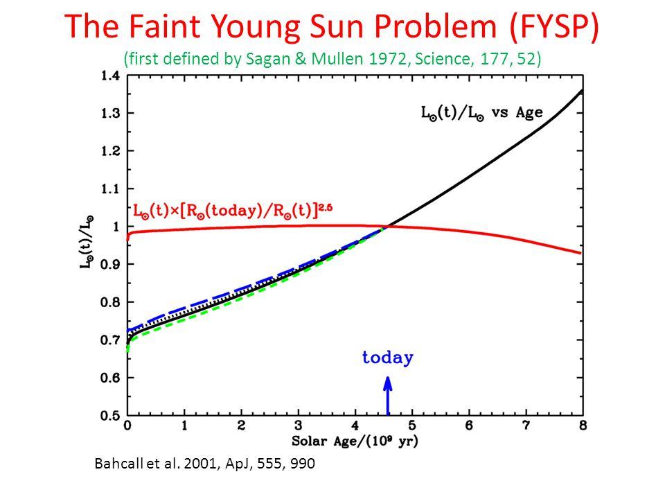 Bahcall et al. 2001, ApJ, 555, 990 The Faint Young Sun Problem (FYSP) (first defined by Sagan & Mullen 1972, Science, 177, 52)