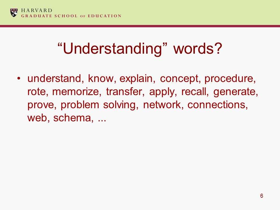 6 Understanding words.