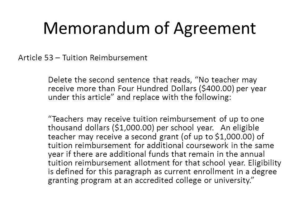 Memorandum of Agreement New Article 56: Workshop Reimb.