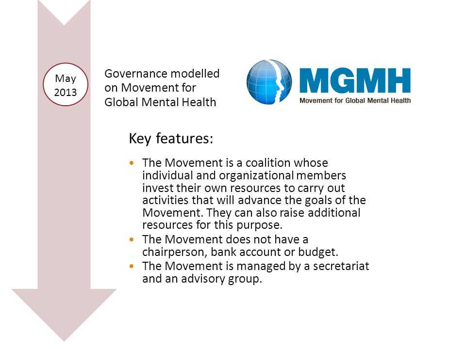 Governance modelled on Movement for Global Mental Health May 2013 Key features: The Movement is a coalition whose individual and organizational members invest their own resources to carry out activities that will advance the goals of the Movement.