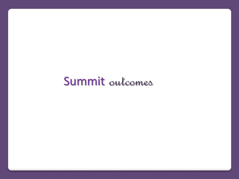 Summit outcomes