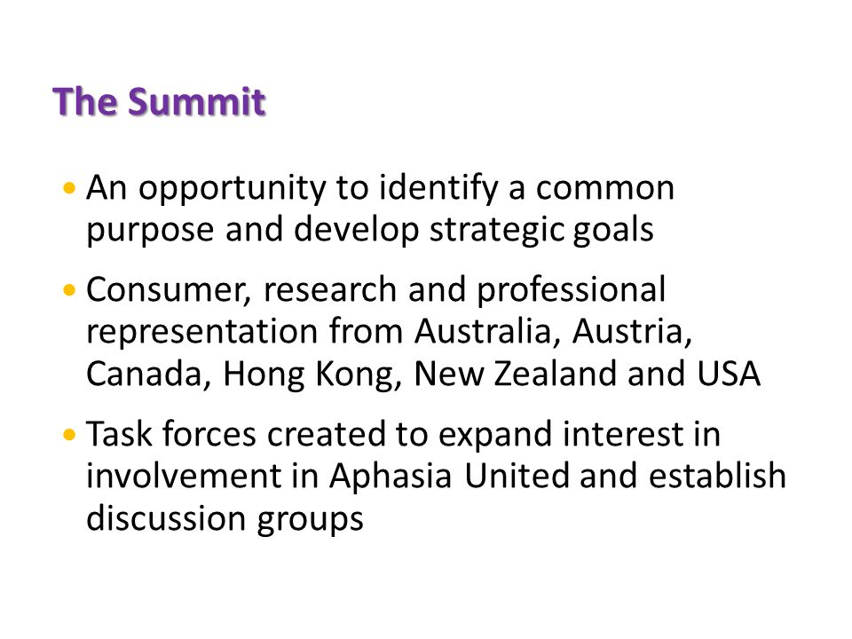 The Summit An opportunity to identify a common purpose and develop strategic goals Consumer, research and professional representation from Australia, Austria, Canada, Hong Kong, New Zealand and USA Task forces created to expand interest in involvement in Aphasia United and establish discussion groups