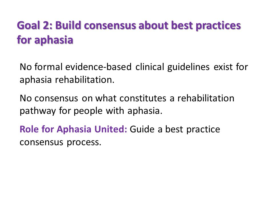 Goal 2: Build consensus about best practices for aphasia No formal evidence-based clinical guidelines exist for aphasia rehabilitation.
