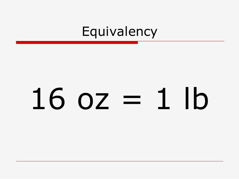 Equivalency 16 oz = 1 lb