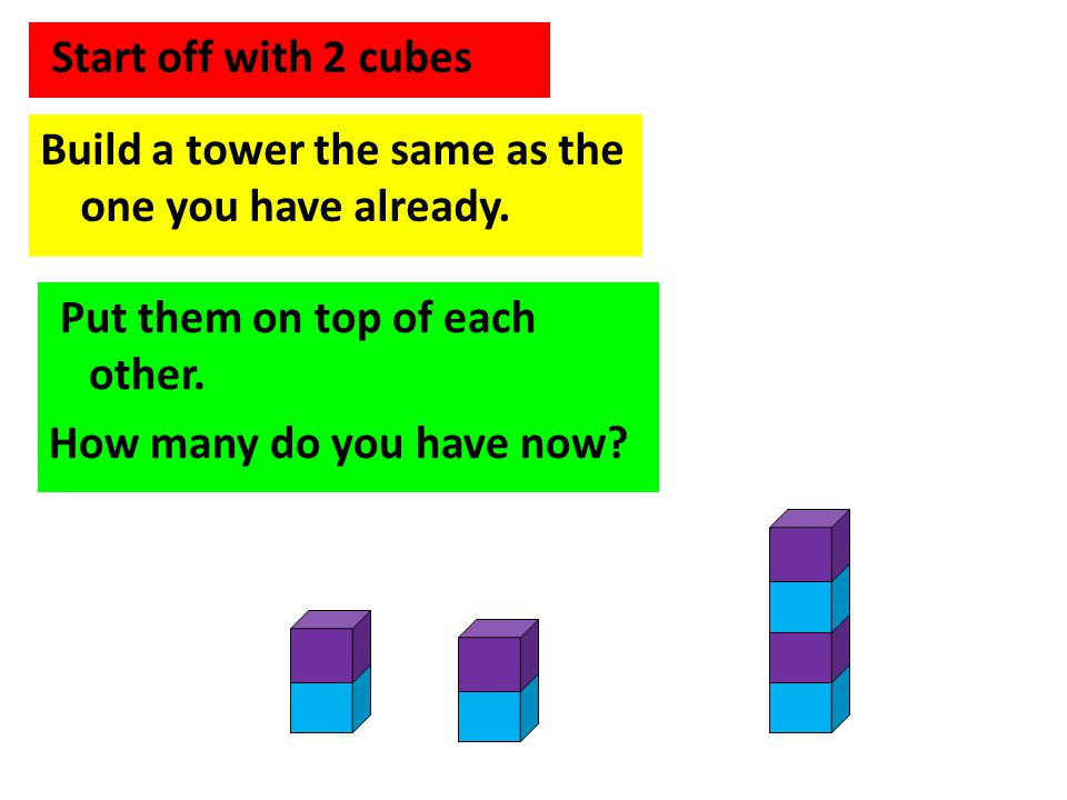 Start off with 2 cubes Build a tower the same as the one you have already. Put them on top of each other. How many do you have now?