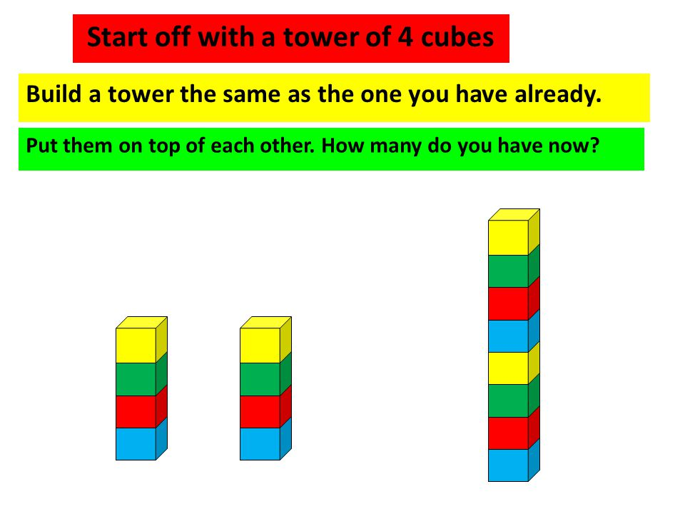 Start off with a tower of 4 cubes Build a tower the same as the one you have already. Put them on top of each other. How many do you have now?